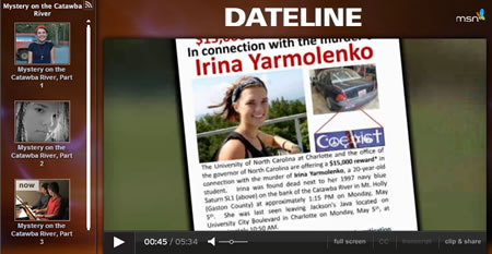 Dateline's Mystery on the Catawba River from July 9, 2011