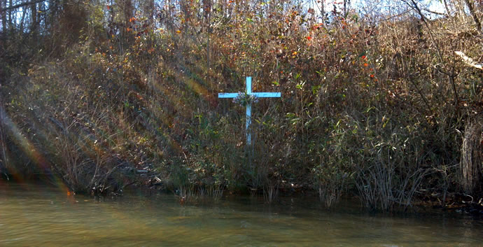 Cross at the site of Ira Yarmolenko's death