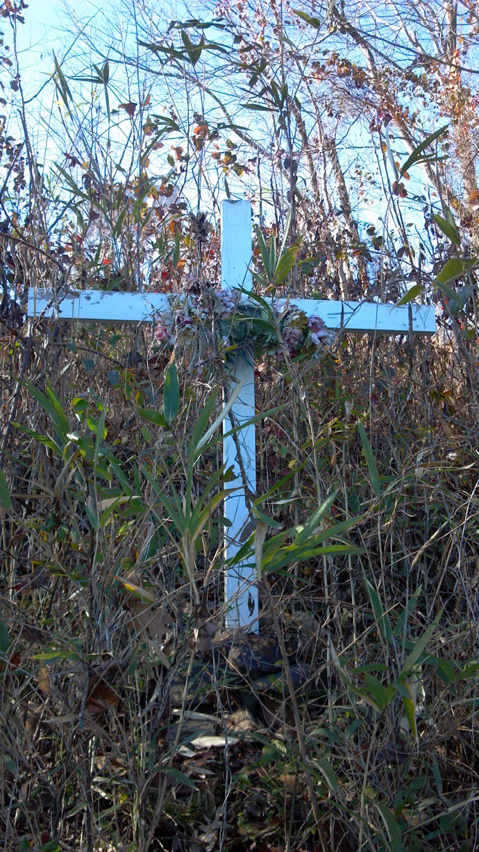 Closeup of cross on Catawba River marking site of Ira Yarmolenko's death